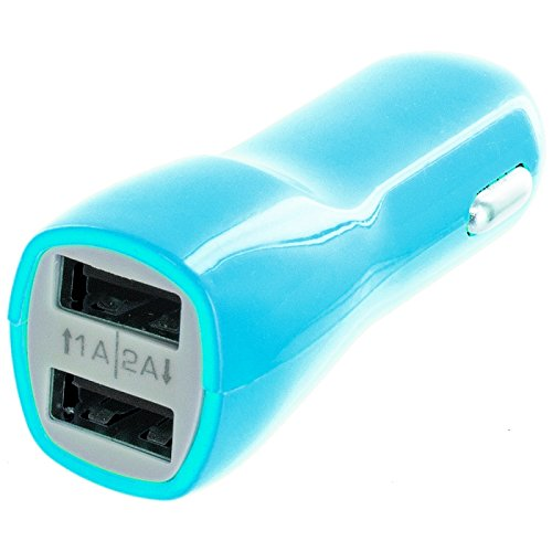 Cell Accessories For Less (Tm) Baby Blue Dual 2 Port Car Charger (2.1A + 1.0A) - By Thetargetbuys front-968164