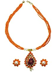 Abhika Studio Leaf Shaped Orange Bead Necklace Set For Women (AKSD319)