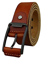 Heepliday Men's Unique Buckles Leather Belt XXX-Large(40-42) Brown