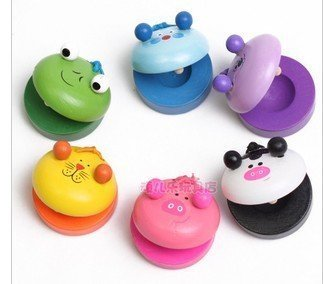 Water & Wood 1x Children's Musical Percussion Instrument Wooden Castanets Preschool Education Toy - 1