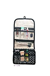 PrettyKrafts Multifunction Hanging Travel Cosmetic Bag - Foldable Makeup Pouch - Toiletry Zipper Wash Organizer - Black
