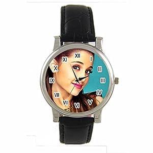 Female Singer Ariana Grande Custom 100% NEW genuine leather Band fashion adult's Sport wrist watch