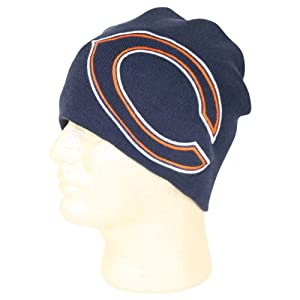 "NFL ""Logo Hype"" Uncuffed Knit Beanie / Winter Hat - Chicago Bears"