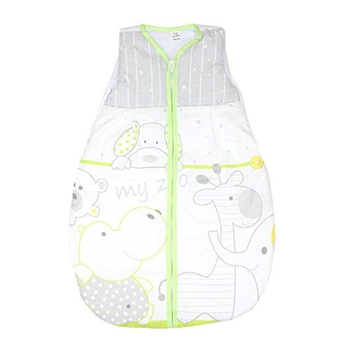 Babyschlafsack ohne Ärmel Kinderschlafsack Wattierter Schlafsack Baby Eulen- Bärchenmotiv Giraffe, Farbe: My Zoo Grün, Größe: 92-98