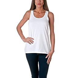 Sofra Women\'s Loose Fit Tank Top Relaxed Flowy, White, Medium