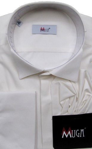 MUGA mens French-Cuff Dress shirt, Wing Collar, Creme/Ivory, Size 5XL