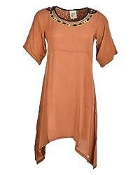 Beautiful Clothes Women's Regular Fit Dress(BCS 27_S,Orange,S )