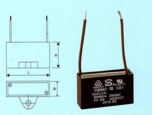CBB61 / C61 Fan Motor Capacitor 10uf 250VAC 2 Wire by S.Y. Elec.