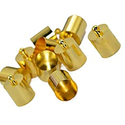 10pcs Jewelry Making Brass End Caps Findings for 7-8mm Cord Gold