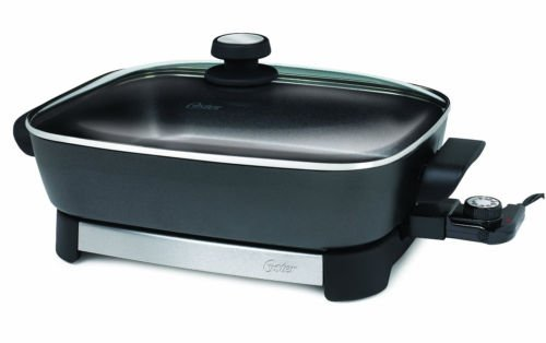 """16-Inch Electric Skillet, Black, Stainless Steel 12X16"""" Cooking Area, Non-Stick"""