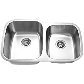 "Stainless Steel Undermount Double Bowl Sink - 18 Gauge - Pearl Satin Finish (32-1/8"" x 20-5/8"" x 7"" ,9"") by Yosemite Home Decor"