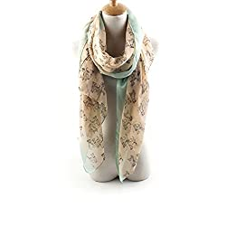 AngelShop Women Double Color Dog Printed Encryption Scarves Shawl BYWJ