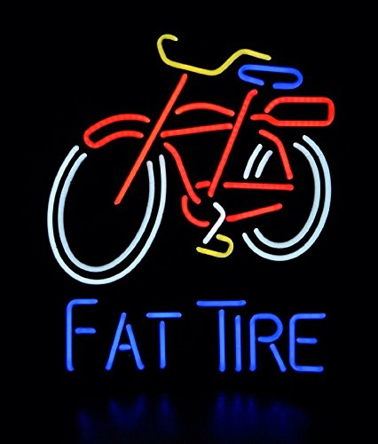QUEEN SENSE® FAT TIRE BEER BICYCLE Handcrafted Design Decorate Real Glass Tube Neon Light Sign 17''x14'' K58 (Fat Tire Beer Sign compare prices)
