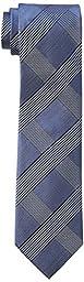 Calvin Klein Men\'s Tonal Glenn Plaid Tie, Navy, One Size