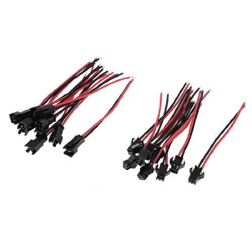 10 Pcs Black Red 8Cm Length 2 Pins El Wire Cable Connectors