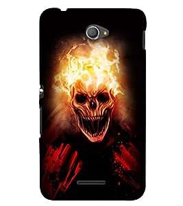 Printvisa Burning Skeleton Pic Back Case Cover for Sony Xperia E4 Dual::Sony Xperia E4