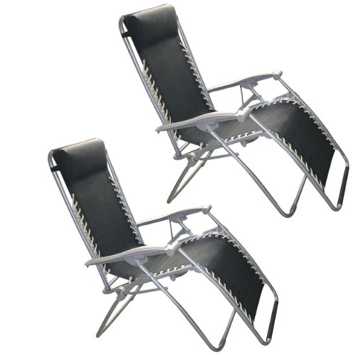 SET OF 2 Black Multi Position Garden Lounger Relaxer Chair With Headrest - Weatherproof Textoline Recliner