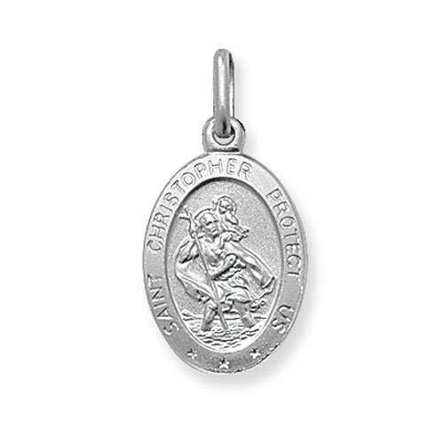 Mens Sterling Silver Small Solid Oval St Christopher Pendant On A 16,18,20,22 or 24 Inch Black Leather Cord Necklace