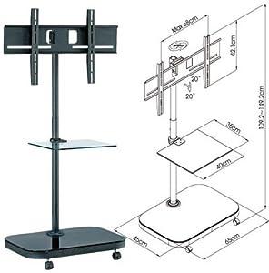 FS941 Plasma/LCD TV Trolley Floor Stand w/ Mounting Bracket & Glass Shelf