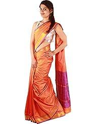 Indian Casual Orange Artificial Silk Saree Designer Zari Border Sari