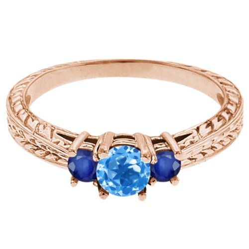 0.59 Ct Round Swiss Blue Topaz Blue Sapphire 14K Rose Gold 3-Stone Ring