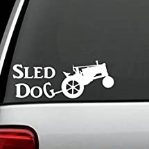 A1173 Antique Tractor Sled Dog Decal Sticker