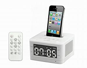Radio Alarm Clock Speaker Dock Charger fr iPod Touch 4th Iphone 4 4G 4S 3Gs D132