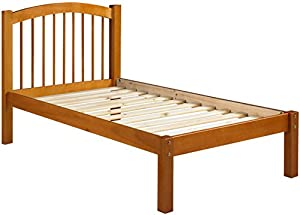 "100% Solid Wood Alaska Twin Platform Bed • Honey Pine • 44.5""h x 43""w x 80""l • 12 Slats Included • Optional Trundle, Drawers, Rail Guard Sold Separately • Requires Assembly"