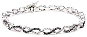 10k White Gold Black and White Diamond Infinity Bracelet (1 1/2 cttw), 7