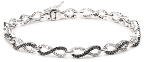 10k White Gold Black and White Diamond Infinity