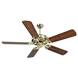 Craftmade K10975 CXL Ceiling Fan with Plus Series Walnut Blades, Polished Brass, 52\