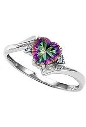 Tommaso Design Heart Shape 6mm Mystic Rainbow Topaz bypass Ring