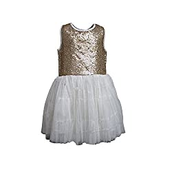 A Little Fable Off white sequence dress 3to4yr
