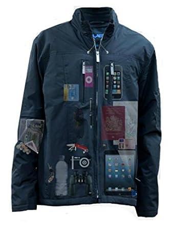 AyeGear® 22 Pocket Jacket - Concealed Pockets, iPad Pocket, No Bulge - Airport Scanner Friendly - (Black, M)