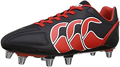 Canterbury Men's Stampede Club 8 Stud Rugby Boots E22323 - 989 Black/Molten Lava/White 8 UK, 42 EU
