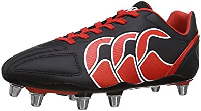 Canterbury E22323 Men's Stampede Club 8 Stud Rugby Boot - Black/Molten Lava/White, 10 UK