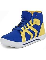 Earton Men's Blue & Yellow Canvas Sneakers