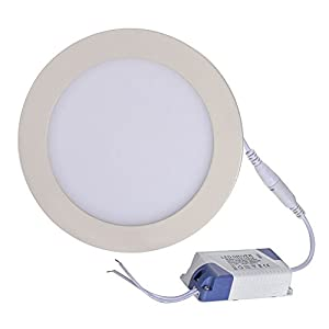 E-Goal Arrival 12W 7 Inch Ultra Thin Anti-fogging Round Ceiling Panel LED Recessed Lighting Trim Downlight (Warm White) from E-Goal