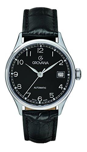 GROVANA - 3190.2537 - Montre Mixte - Automatique - Analogique - Bracelet Cuir noir