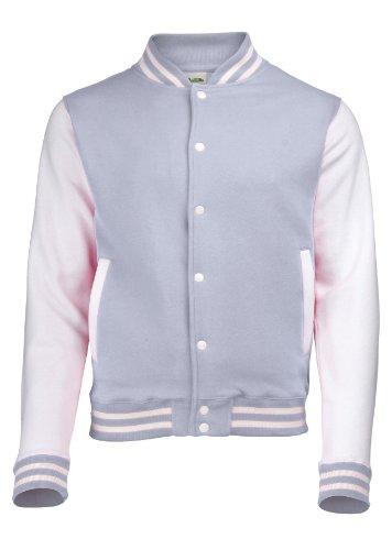 Awdis Men'S Just Hoods Varsity Jacket Large Heather Grey / White
