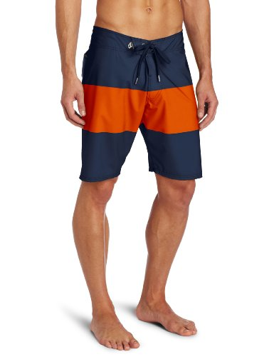 Volcom - Mens V4S Stripe Boardshorts, Size: 36, Color: Navy Red
