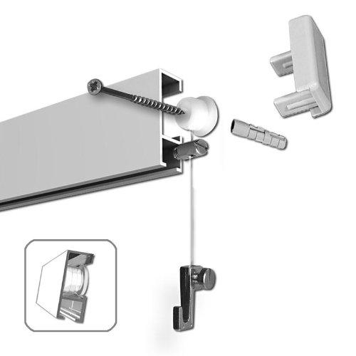Guide scorrevoli da per quadri 60 m argento opaco con for Bilderschienen ikea