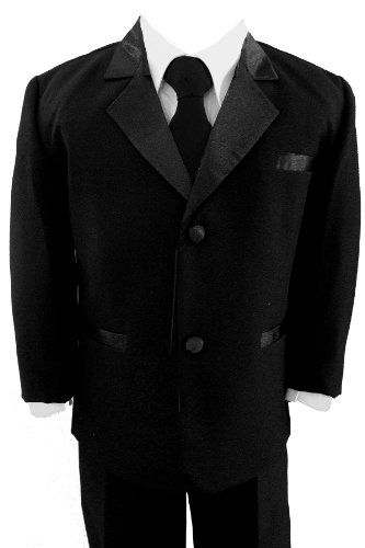 New Boys Usher With Tie Tuxedo Suit Tux Set Black From Baby To Teen (3T) front-567669