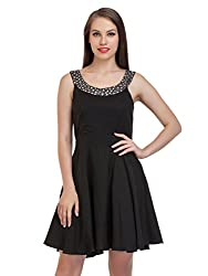black silver embroidered dress