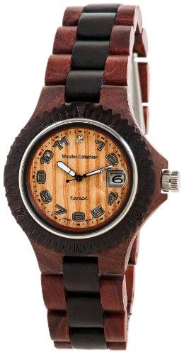 Tense Natural Wood Bracelet Round Watch Date Womens Two-Tone L4100SD