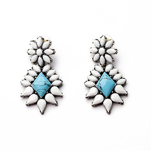 White Flower and Turquoise Beaded Drop Dangle Statement Earrings (Nickle Back Shirts compare prices)