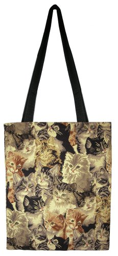 Banberry Designs Cats Canvas Shopping Shoulder Tote Bag