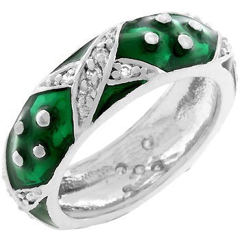 White Gold Rhodium Bonded and Forest Green Hand Applied Enamel Overlay Eternity Ring with Handset Clear Cz Xs and Silvertone Polk-a-dots Women Jewelry (6)