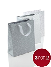 Pack of 3 Silver Medium Christmas Gift Bags
