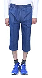 Romano Mens Denim Capri Three Fourth Blue